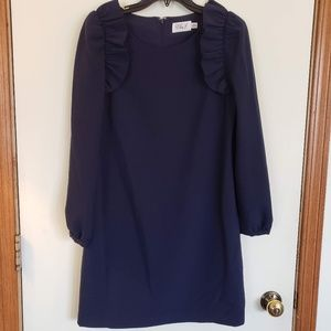 Eliza J Navy Blue Long Sleeve Ruffle Mini Dress